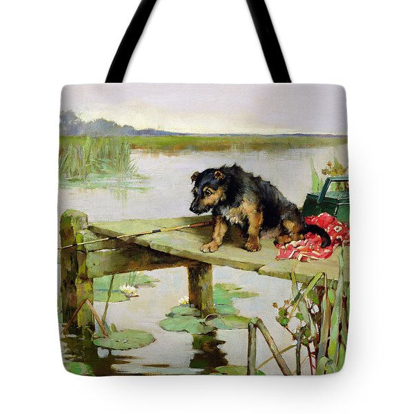 Terrier - Fishing Tote Bag by Philip Eustace Stretton