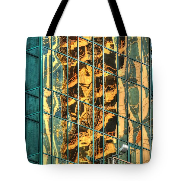 Tote Bag featuring the photograph Terrific Warsaw Under Construction Glass Reflections by Julis Simo