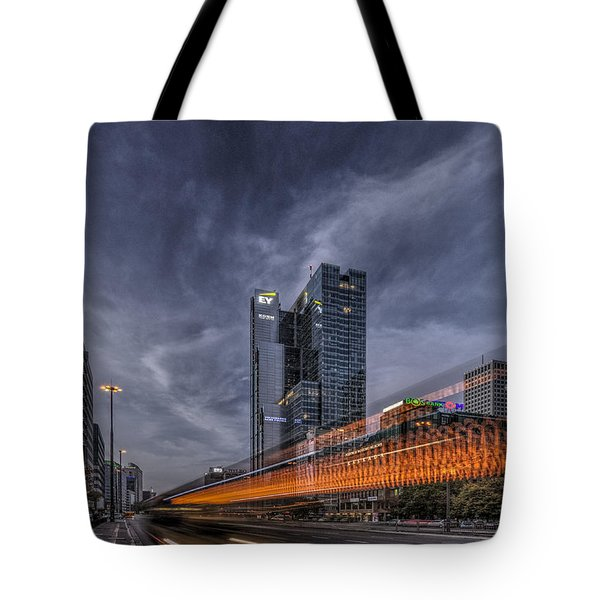 Tote Bag featuring the photograph Terrific Warsaw With Zoom Perspective From Jerozolimskie To Rondo One by Julis Simo