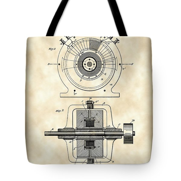 Tesla Alternating Electric Current Generator Patent 1891 - Vintage Tote Bag