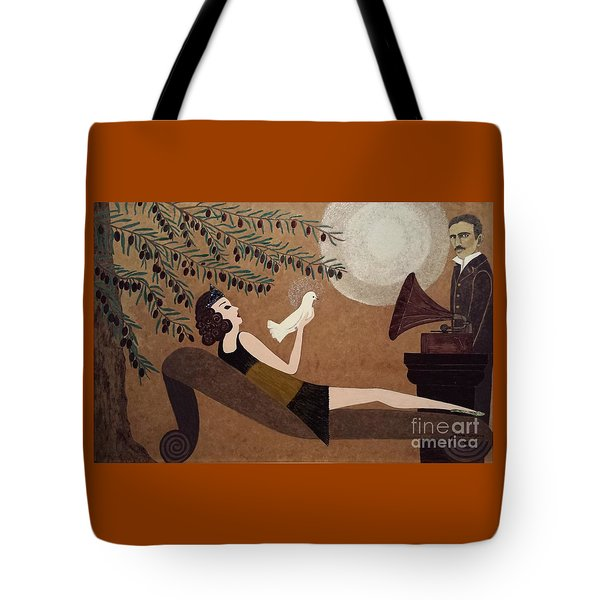 Tesla And White Dove Tote Bag by Jasna Gopic