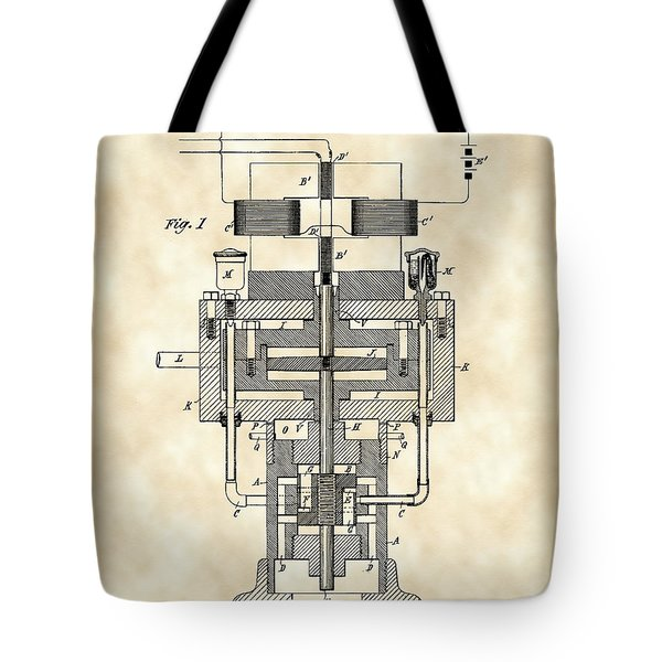 Tesla Electric Generator Patent 1894 - Vintage Tote Bag by Stephen Younts