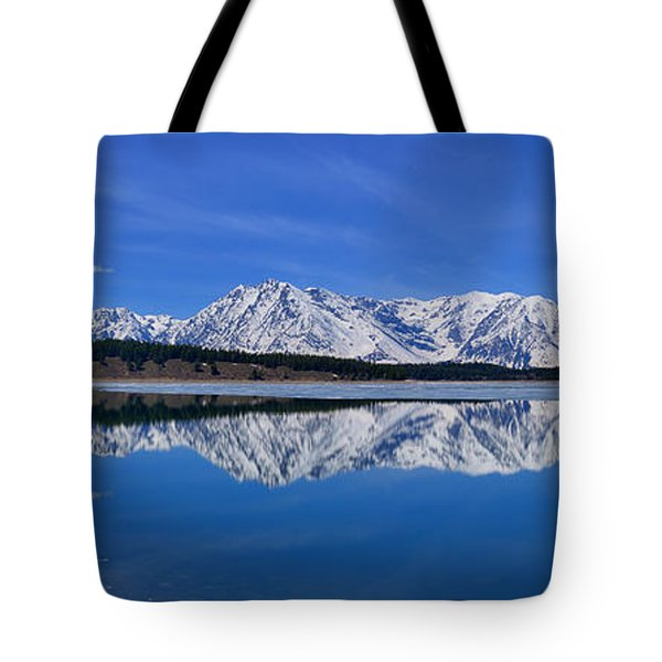 Teton End Of Winter Reflections Tote Bag