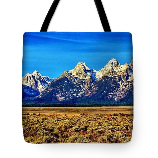 Tote Bag featuring the photograph Teton Panorama by Benjamin Yeager