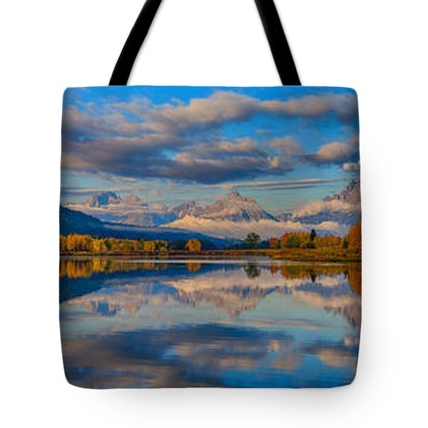 Teton Panoramic Reflections At Oxbow Bend Tote Bag