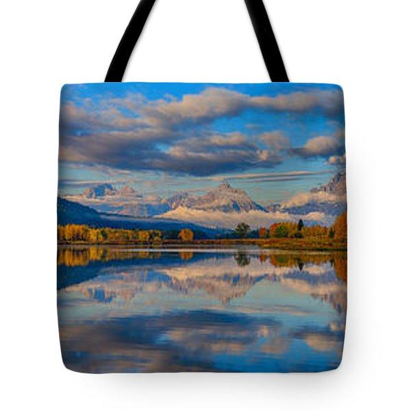 Teton Panoramic Reflections At Oxbow Bend Tote Bag