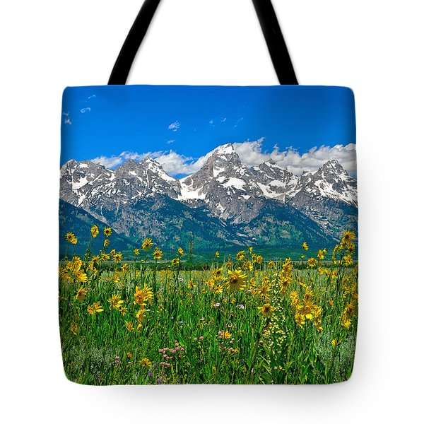 Teton Peaks And Flowers Tote Bag