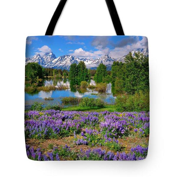Teton Spring Lupines Tote Bag