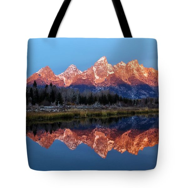 Tote Bag featuring the photograph Teton Sunrise by Benjamin Yeager