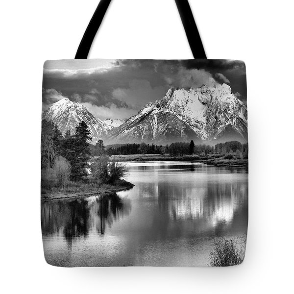 Tetons In Black And White Tote Bag