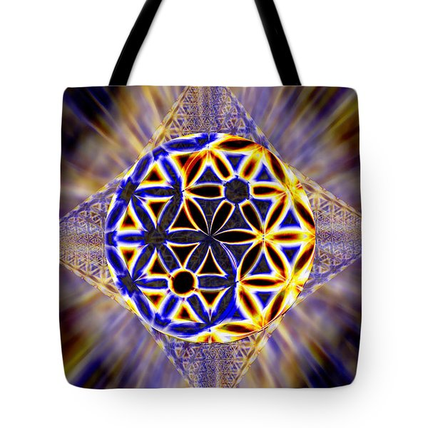 Tote Bag featuring the drawing Tetra Balance Crystal by Derek Gedney