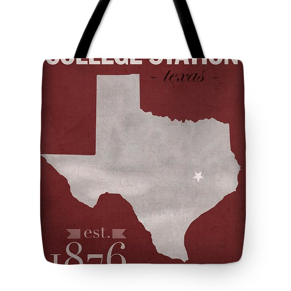 Texas A And M University Aggies College Station College Town State Map Poster Series No 106 Tote Bag by Design Turnpike