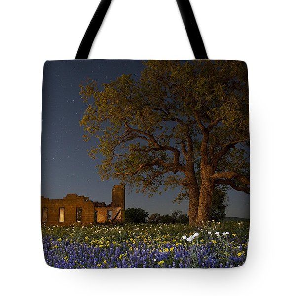 Tote Bag featuring the photograph Texas Blue Bonnets At Night by Keith Kapple