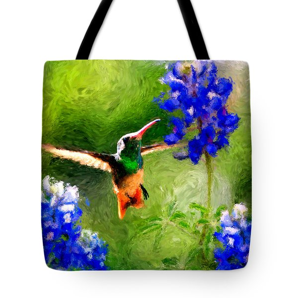 Da161 Texas Bluebonnet Hummingbird By Daniel Adams Tote Bag