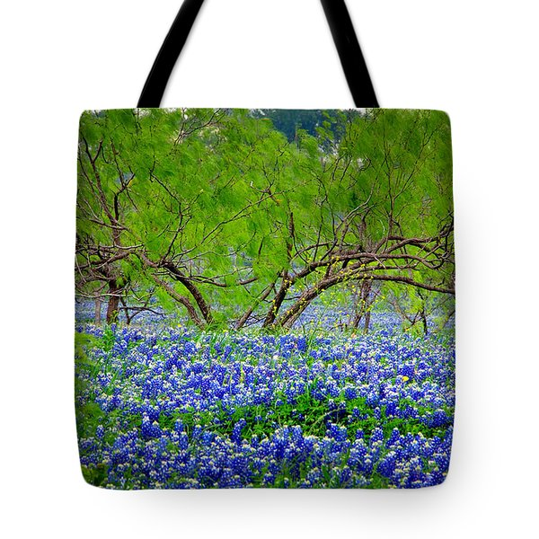 Tote Bag featuring the photograph Texas Bluebonnets - Texas Bluebonnet Wildflowers Landscape Flowers by Jon Holiday