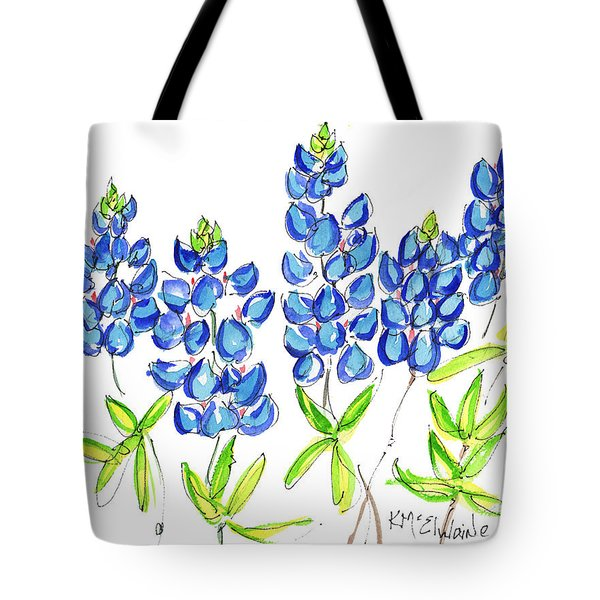 Texas Bluebonnets Watercolor Painting By Kmcelwaine Tote Bag