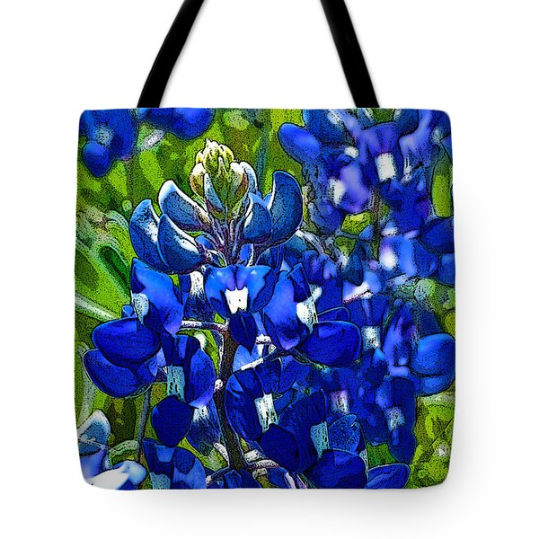 Texas Bluebonnets - Posterized Image Tote Bag