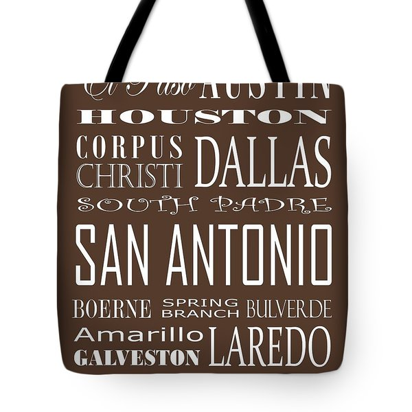 Texas Cities On Brown Tote Bag