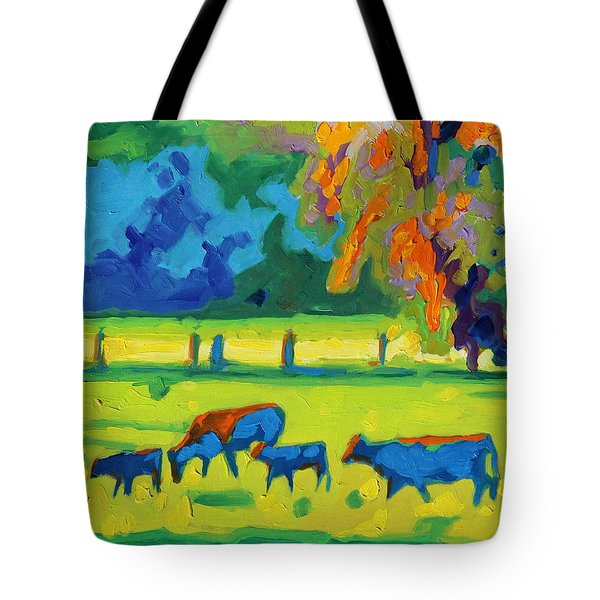 Texas Cows At Sunset Oil Painting Bertram Poole Apr14 Tote Bag by Thomas Bertram POOLE