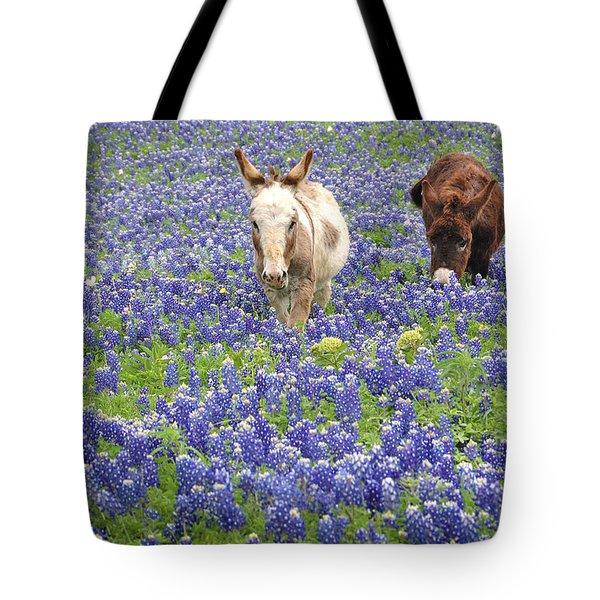 Tote Bag featuring the photograph Texas Donkeys And Bluebonnets - Texas Wildflowers Landscape by Jon Holiday