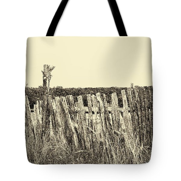 Texas Fence In Sepia Tote Bag