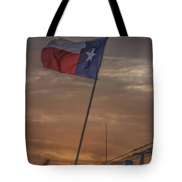 Texas Flag Flying From A Fishing Boat At Sunrise Tote Bag
