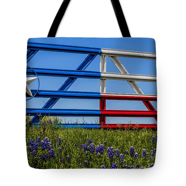 Texas Flag Painted Gate With Blue Bonnets Tote Bag