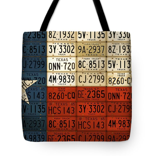 Texas Flag The Lone Star State License Plate Art Tote Bag by Design Turnpike