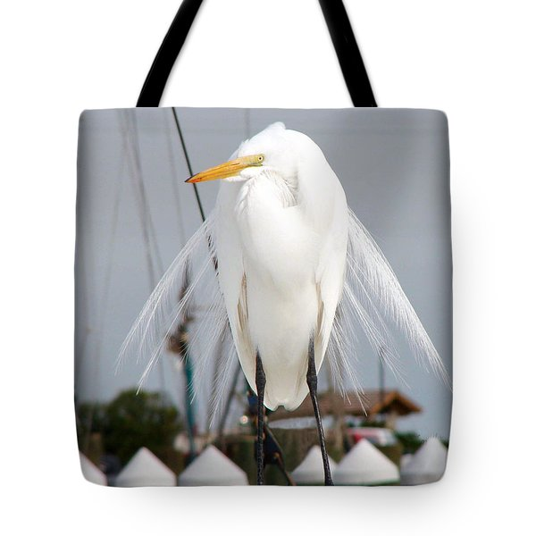 Tote Bag featuring the photograph Texas Gulf Coast Great White Egret by Linda Cox