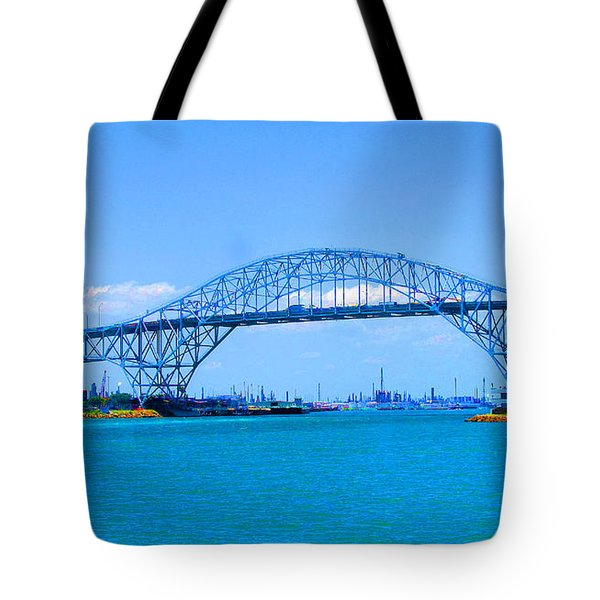 Texas Harbor Bridge Tote Bag by Tina M Wenger