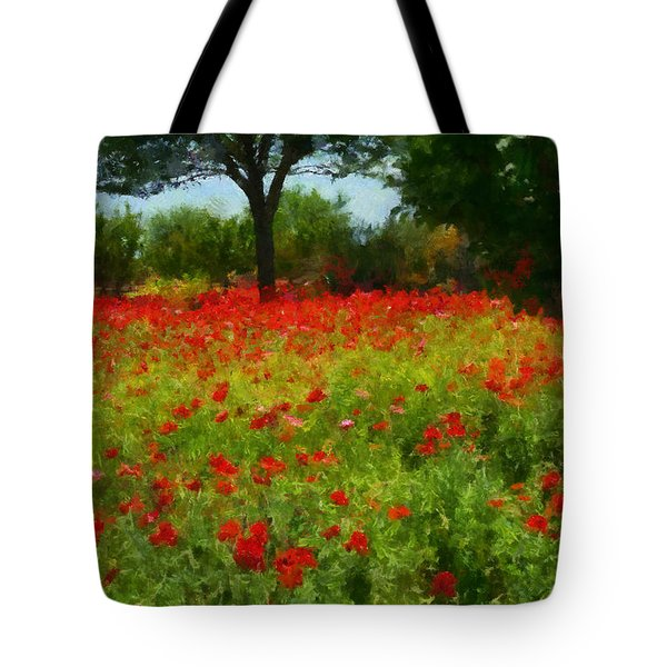 Texas Hill Country Corn Poppies Tote Bag