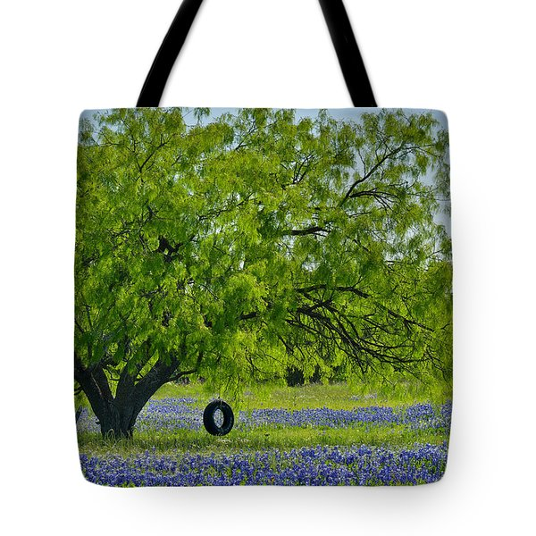 Tote Bag featuring the photograph Texas Life - Bluebonnet Wildflowers Landscape Tire Swing by Jon Holiday