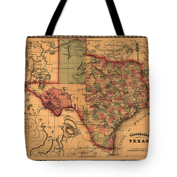 Texas Map Art - Vintage Antique Map Of Texas Tote Bag