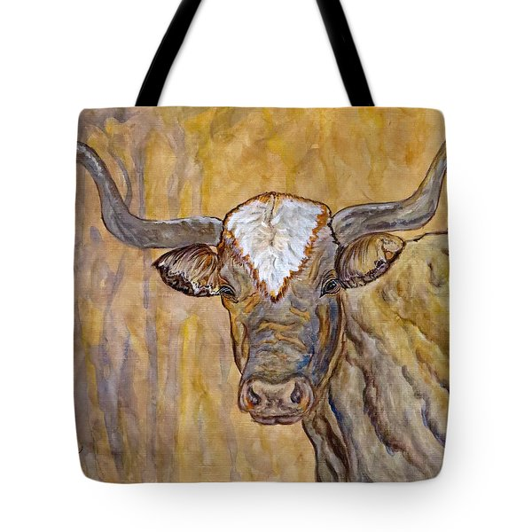 Tote Bag featuring the painting Texas O Texas Longhorn by Ella Kaye Dickey