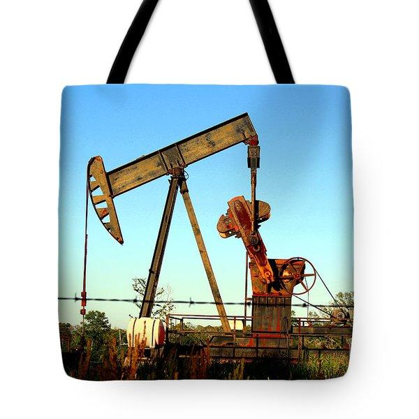 Texas Pumping Unit Tote Bag by Kathy  White