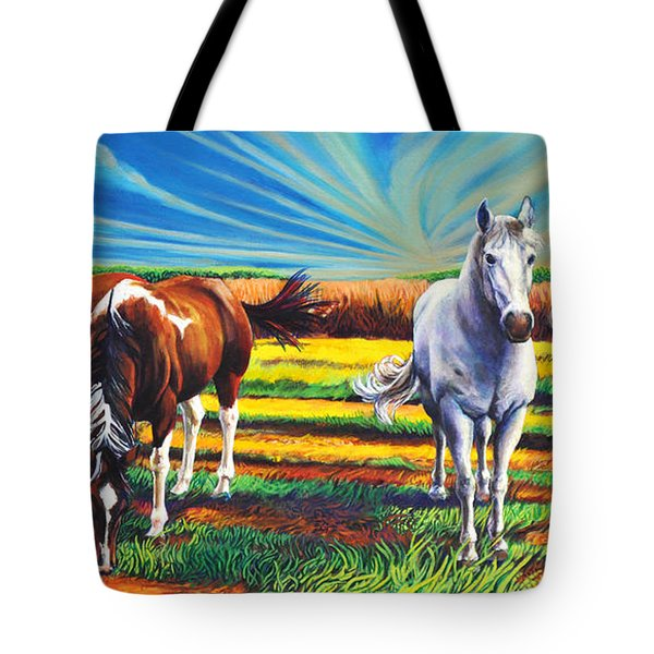 Tote Bag featuring the painting Texas Quarter Horses by Greg Skrtic