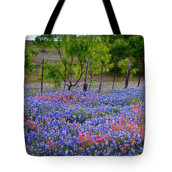 Tote Bag featuring the photograph Texas Roadside Heaven -bluebonnets Paintbrush Wildflowers Landscape by Jon Holiday