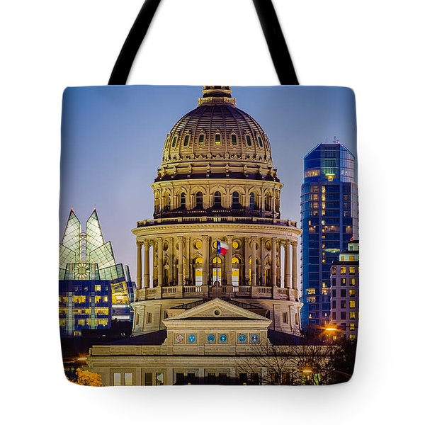 Texas State Capitol By Night Tote Bag
