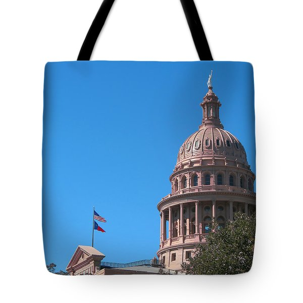 Tote Bag featuring the photograph Texas State Capitol With Pediment by Connie Fox
