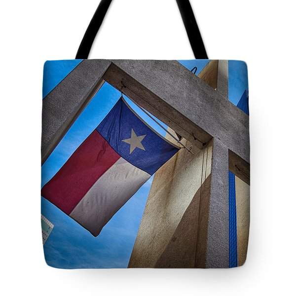 Texas State Flag Downtown Dallas Tote Bag by Kathy Churchman