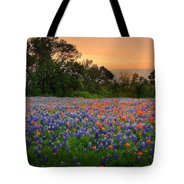Tote Bag featuring the photograph Texas Sunset - Bluebonnet Landscape Wildflowers by Jon Holiday