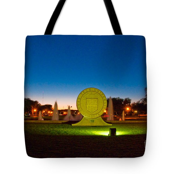 Tote Bag featuring the photograph Texas Tech Seal At Night by Mae Wertz
