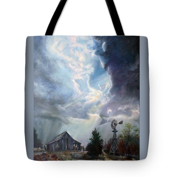 Tote Bag featuring the painting Texas Thunderstorm by Karen Kennedy Chatham