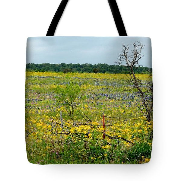 Texas Wildflowers And Mesquite Tree Tote Bag