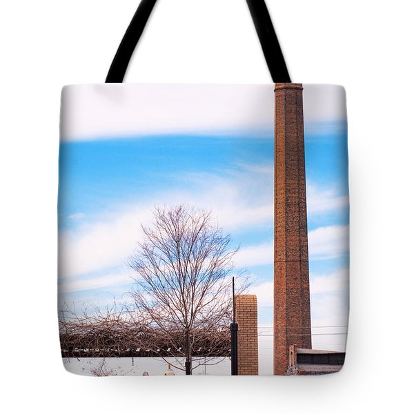 Tote Bag featuring the photograph Historical Textile Mill Smoke Stack In Columbus Ga by Vizual Studio