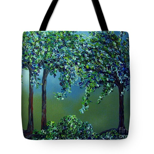 Tote Bag featuring the painting Texture Trees by Eloise Schneider