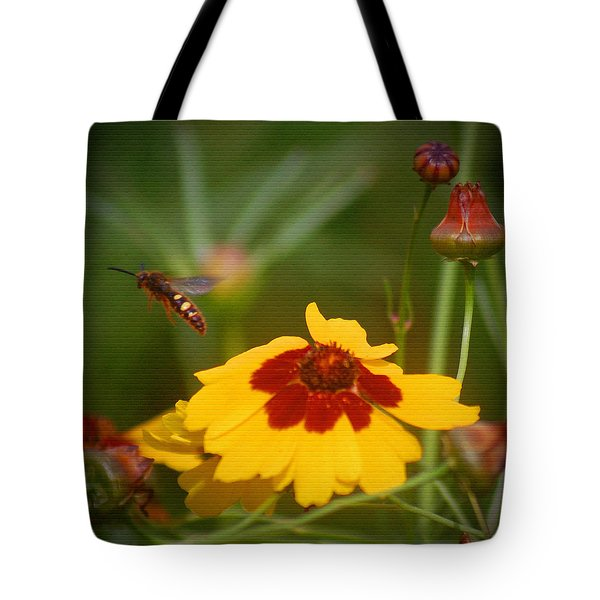 Tote Bag featuring the photograph Textured Bee by Leticia Latocki