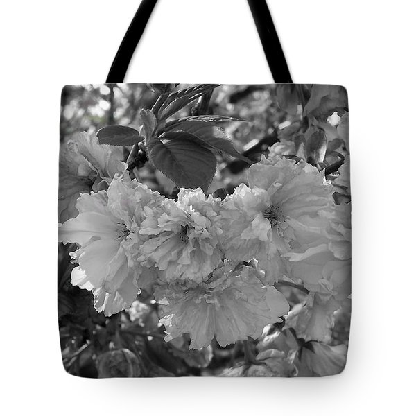 Tote Bag featuring the photograph Textured Black And White Cherry Blossoms by Gena Weiser