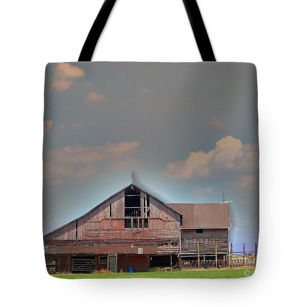 Tote Bag featuring the photograph Textured - Grey Barn by Gena Weiser