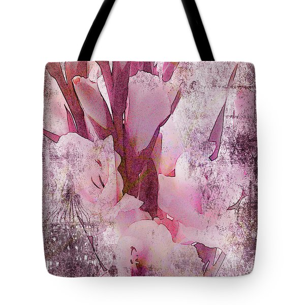 Tote Bag featuring the photograph Textured Pink Gladiolas by Sandra Foster